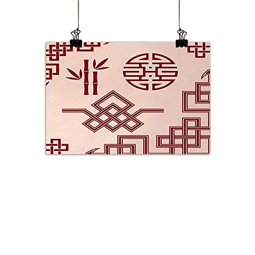 - Anzhutwelve Asian Abstract Painting Set of Oriental Design Elements Traditional Eastern Knot and Bamboo Framework Natural Art Peach and Ruby 24