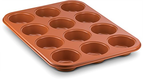 Ceramic Coated Copper Muffin Pan 12 Cup - Premium Nonstick, Even Baking, Dishwasher and Oven Safe - PTFE/PFOA Free -Red Cookware and Bakeware by Bovado ()