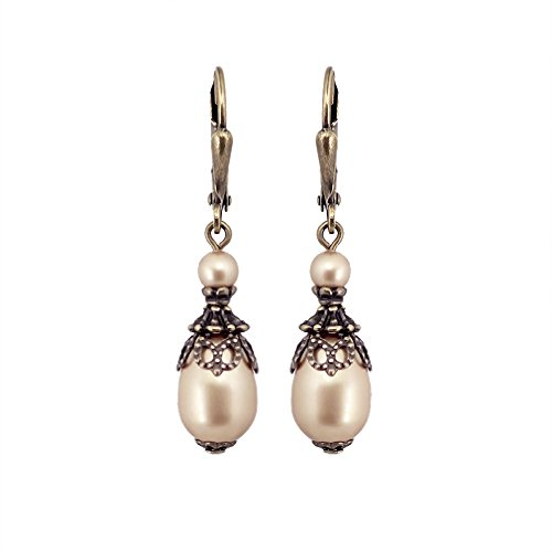 Gold-Colored Swarovski Crystal Simulated Pearl Vintage Style Teardrop Leverback Earrings (Pearl Bronze Earrings)