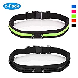 2 Pack Running Belt Waist Pack Fanny Pack for Men and Women with 2 Expandable Pockets, Sweatproof Rainproof Mobile Phone Pouch Bag, fit for Hiking Jogging Walking Cycling etc