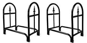 Pure Garden Fireplace Log Rack with Finial Design, Black (Pack of 2)