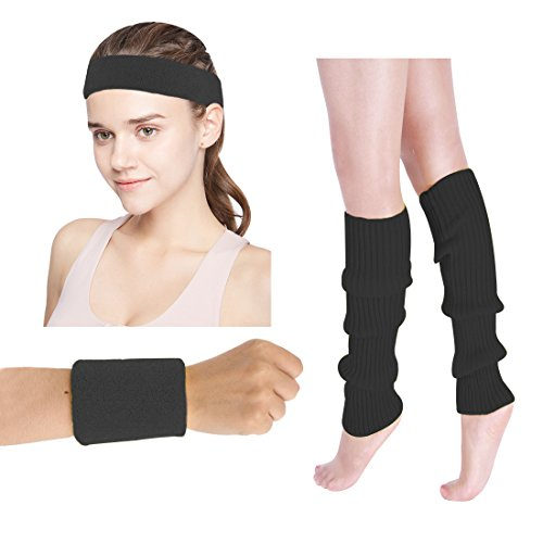 Women's 80s Costumes Accessories Neon Headband Wristband Leg Warmers Set for 1980s Theme Party Supplies(Black)