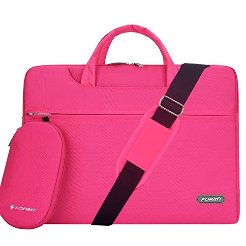 YOUPECK Water Repellent 14-15 Inch Laptop Shoulder Bag Compatible MacBook Pro 15.4, Ultrabook Chromebook 14, Polyester Protective Messenger Briefcase Men Women Carry Handbag Sleeve Case, Rose