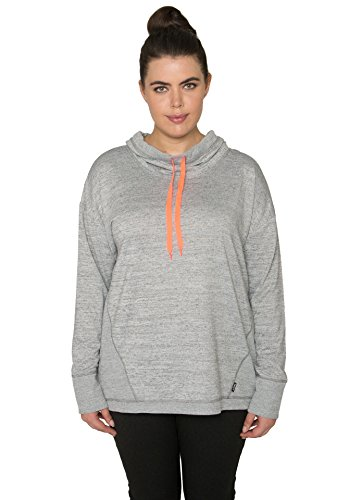 RBX Active Women's Plus Size Hacci Cowl Neck Pullover with Ribbed Trim