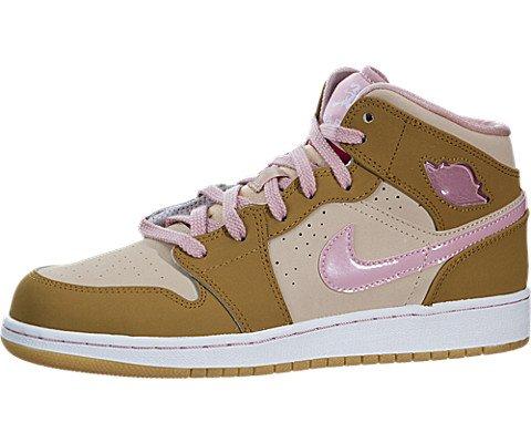 Nike Jordan Kids Air Jordan 1 Mid WB GG Wheat/Pink Glaze/Shimmer Basketball Shoe 6 Kids ()