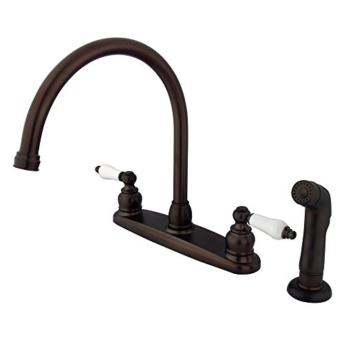 Kingston Brass KB725SP Victorian Gooseneck Kitchen Faucet with Sprayer, 8