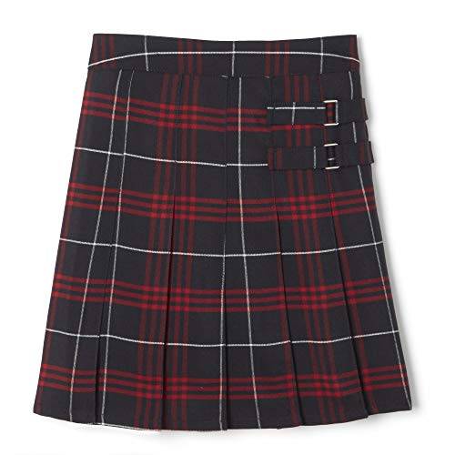 French Toast  Girls' Plaid Two-Tab Scooter skirt, Navy Red Plaid, 6X,Little Girls
