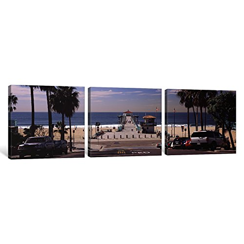 iCanvasART 3 Piece Pier Over an Ocean, Manhattan Beach Pier, Manhattan Beach, Los Angeles County, California, USA Canvas Print by Panoramic Images, 48