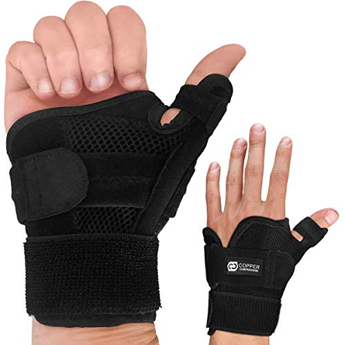 Copper Compression Recovery Thumb Brace - Guaranteed Highest Copper Thumb Spica Splint for Arthritis, Tendonitis. Fits Both Right Hand and Left Hand. Wrist, Hand, and Thumb Stabilizer and Immobilizer (Right Angle Trigger)