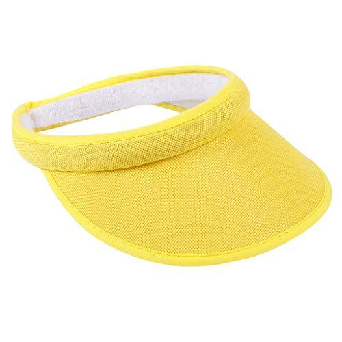 Haluoo Sun Visor for Men Women, Clip On Visor Cap Elastic Sun Hat Visors Hat Adjustable Cap Unisex Summer Outdoors Baseball Cap in Sports Jogging Running Cycling Fishing Tennis (Yellow)