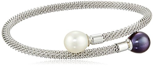 - White and Dyed Black Freshwater Cultured Pearl Sterling Silver Wrap Bracelet, 7.5
