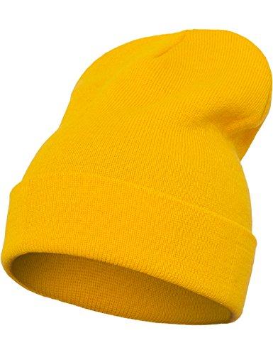Flexfit - Gorro Largo Pesado, Todo el año, Unisex, Color Morado, tamaño Talla única dorado