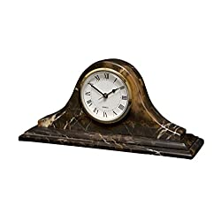 Saturn Clock - Black and Gold Marble