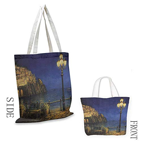 Canvas travel storage bag Lakehouse Decor Collection Romantic Evening at the Coast of Amalfi in Italy Calm Waters City Lights Oil Painting Decorative crafts 16.5