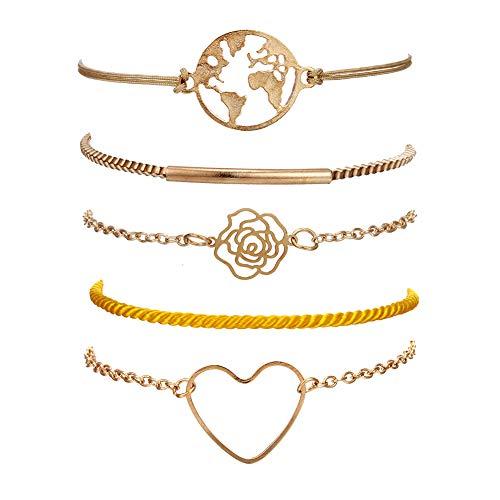 - VONRU Beaded Bracelets for Women - Adjustable Charm Pendent Stack Bracelets for Women Girl Friendship Gift Rose Quartz Bracelet Links with Pearl Gold Plated (Map & Rose)