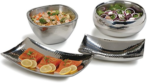 "Carlisle 609211 Stainless Steel Square Bowl with Hammered Finish, 3.5 qt. Capacity, 5.38"" Height (Case of 2)"