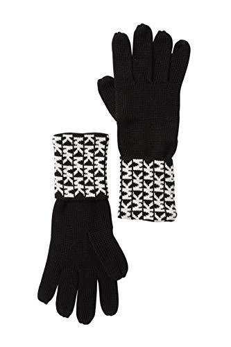 Michael Kors Womens Gloves MK Logo Knit Cuffed Gloves Black White from Michael Kors