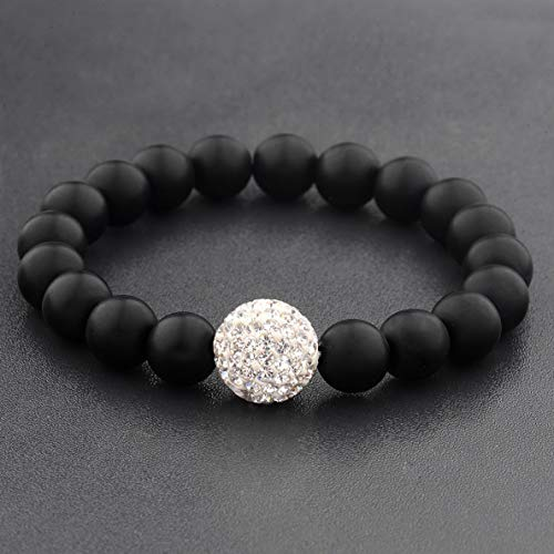 Mikash 10MM Mans Natural Mat Lava Stone Round Gemstones Beaded Stretch Bangle Bracelets | Model BRCLT - 39453 |