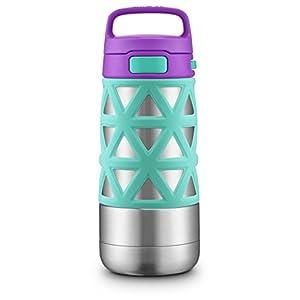 Ello Max Stainless Steel Water Bottle, Mint/Purple, 14 oz.