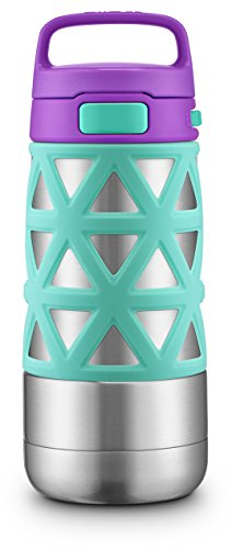 Ello Max Kids Vacuum Insulated Stainless Steel Water Bottle with Silicon Sleeve, 12 oz, Mint/Purple