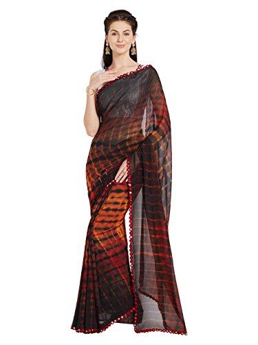 Indian Sarees Women Party Wear Shibori Mirchi Fashion Sari (4232_Brown,Orange)