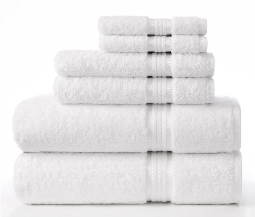 Cotton Craft Ultra Soft 6 Piece Towel Set White, Luxurious 1