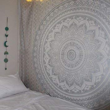 - Popular Handicrafts New Launched Kp650 Original Silver Ombre Tapestry Mandala Tapestries Wall Art Hippie Wall Hanging Bohemian Bedspread with Metallic Shine Tapestries 84x54 Inches(215x140cms)