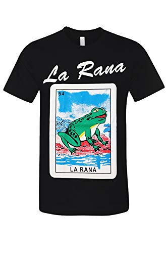 La Rana Loteria Mexican Bingo Arts Printed Funny Adult Graphic T-Shirt Black - Black Art T-shirt