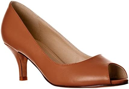 Riverberry Women S Lydia Open Peep Toe Kitten Heel Pumps Brown