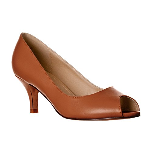 (Riverberry Women's Lydia Open, Peep Toe Kitten Heel Pumps, Brown PU, 10)