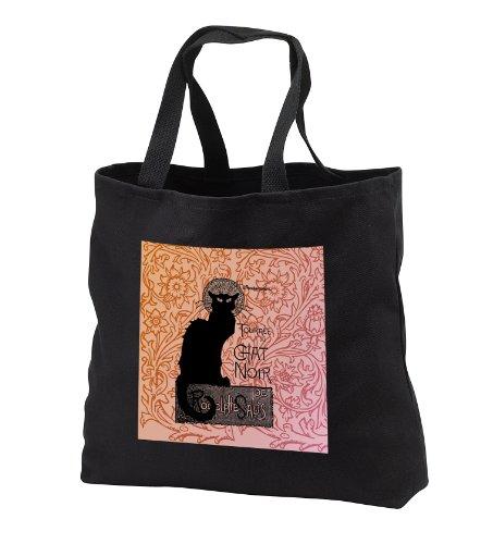 Canvas French Handbag (PS Vintage - Le Chat Noir Vintage French Black Cat - Tote Bags - Black Tote Bag JUMBO 20w x 15h x 5d (tb_79211_3))