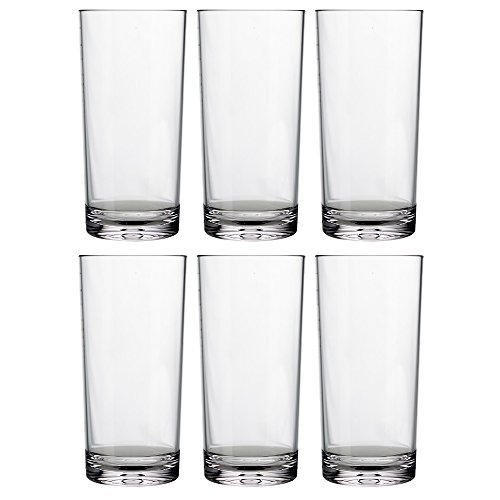 Classic 24-ounce Premium Quality Plastic Tumbler | set of 6 Clear (16 Oz Translucent Tumbler)