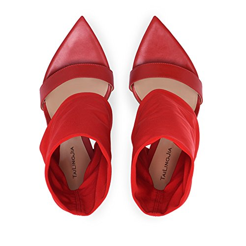 Evening Toe A Party Shoes Size Summer PU Spring 37 Red Open Elasticity Heel amp; Wedding Black Boots Buckle Ladies Sandals Stilettos Color Women's RaPq61P
