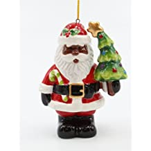 Cosmos Gifts African American Santa with Christmas Tree Ornament, Multicolor