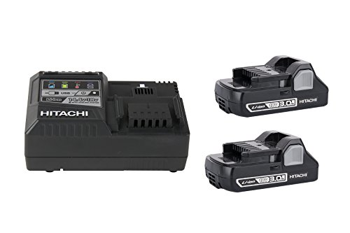 Hitachi UC18YSL3S Compact 18V 3.0Ah Lithium Ion Battery (2 Pack) and Charger Combo Kit by Hitachi