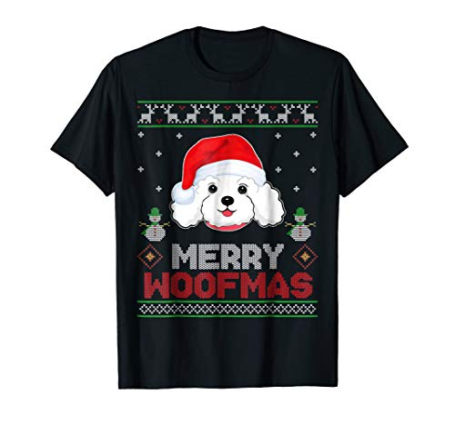 Poodle with Santa Hat Christmas Ugly Style T-Shirt