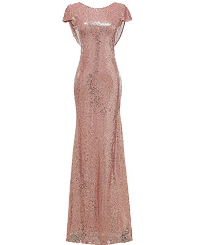 Mermaid Sequined Long Evening Dress Formal Prom Gown Bridesmaid Dresses (US 10, Rose Gold) (Sequined Long Gown)