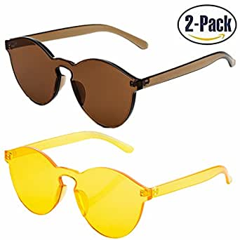 JOJO'S SECRET One Piece Rimless Sunglasses Transparent Candy Color Women Sunglasses JS017 (Brown+ Yellow, 2.3)