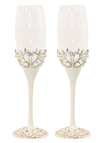 Pearl Wedding Champagne Toasting Flutes, Set of 2 (Wedding Toast)