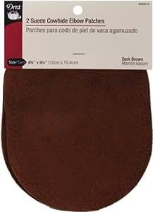 "Suede Cowhide Elbow Patches 4 3/4 "" x 6 1/4"" (2/Pkg-Dark Brown)"