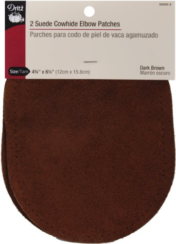 Dritz 55230-2 Suede Cowhide Elbow Patches 4-3/4 x 6-1/4-Inch, Dark Brown (2-Count)