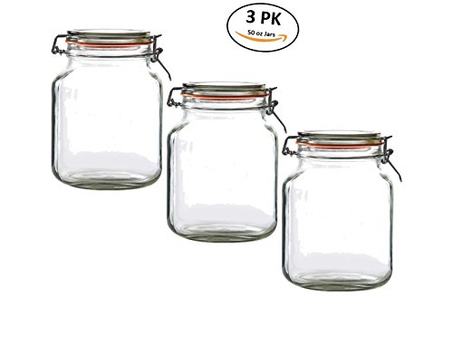 Deluxe Kitchen Jar Set Glass Preserving Containers with Air-