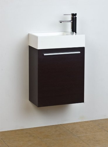 "ConceptBaths 18"" Small Wenge Modern Bathroom Vanity Set CB-T460-WG"