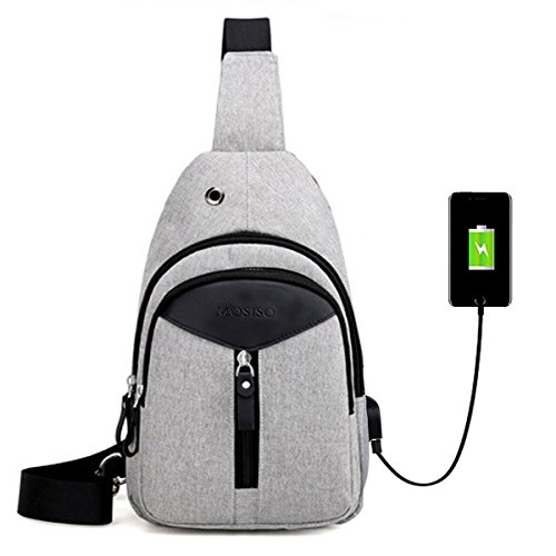MOSISO Sling Backpack with USB Charging Port, Polyester Travel Daypack Durable Chest Shoulder Unbalance Gym Fanny Crossbody Sack Satchel Outdoor Hiking Bag for Men Women Girls Boys, Gray