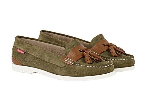 Chatham Arora Women's Suede Shoes Boat Khaki Green 002 UUwq6Tr