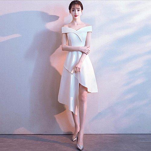 Femenina Invierno de Vestido WBXAZL Corto Corto de Moda Frente Estilo Longitud a Vestido Vestido de Hombro Largo Noche Banquete Blanco Plazo Nuevo rIwr8ZP