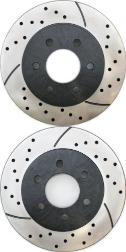Prime Choice Auto Parts PR6384LR Performance Drilled and Slotted Brake Rotor Pair for Front