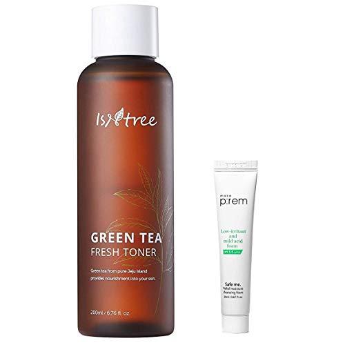 ISNTREE Green Tea Fresh Facial Toner 200ml, 6.76 fl. oz. with Cleansing Foam mini | Deep Moisturizing | Sebum Control | Nourishing | Revitalizing | Hypoallergenic | Dermatologist Tested |
