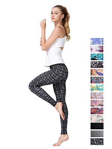 FINEMORE Women Girl High Waist Printed Yoga Pants Stretchy Pilates Workout Sport Yoga Leggings Power Flex Activewear Dragonfly L(US 12-14)
