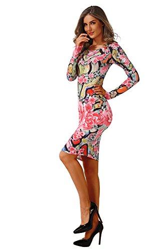 Dalle Vestito Manicotto Donne Moda Per Il C0004 Stampa Sottile Casual Vestiti Aiskly qwXAtzX